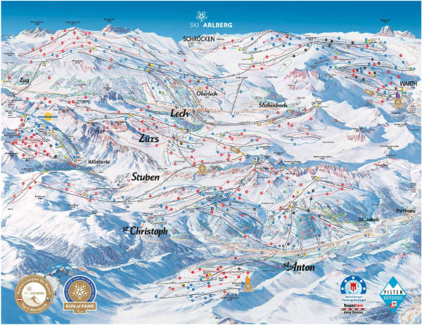 Lech Zürs Ski Resort Piste Map