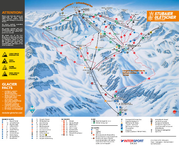 Stubai Glacier Ski Resort Piste Map