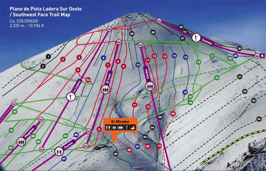 South west face south east face piste map and farellones piste map