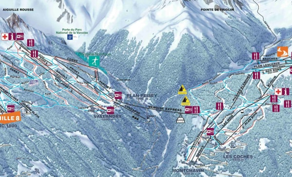 Peisey-Vallandry Ski Resort Piste Map