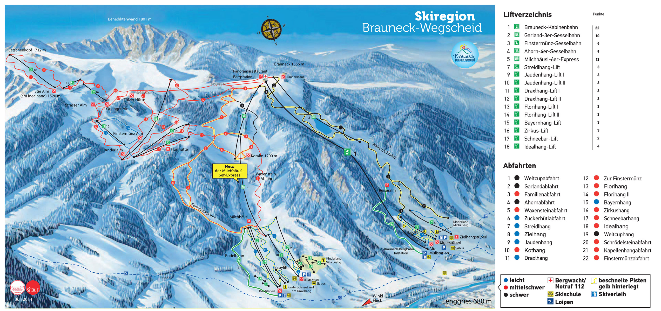 Brauneck Ski Resort Piste Map 2015