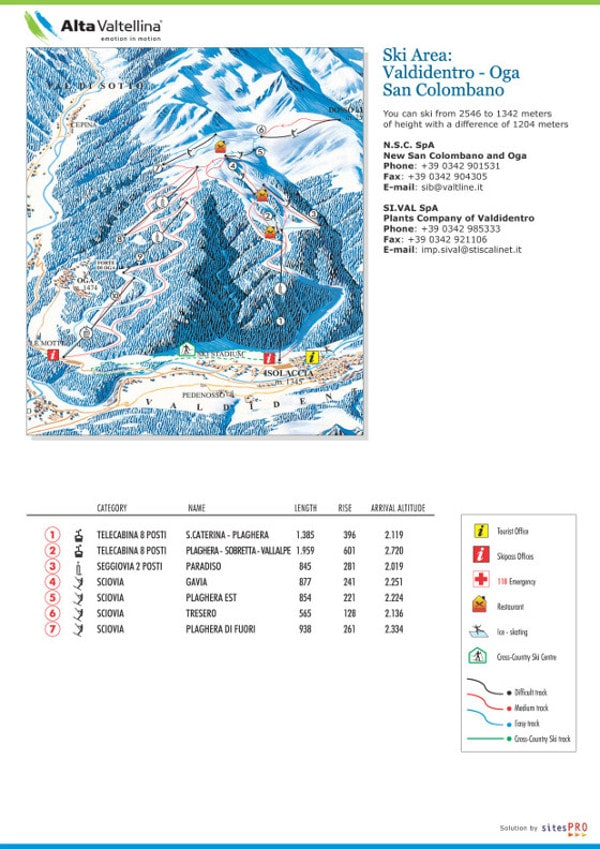 Valdidentro Ski Resort Piste Map