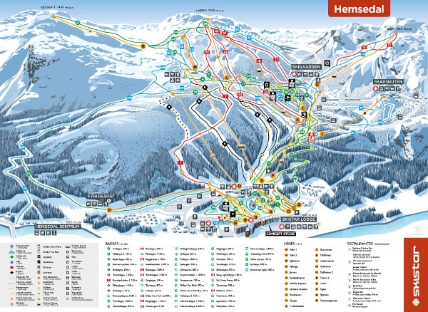 Hemsedal Ski Resort Piste Map