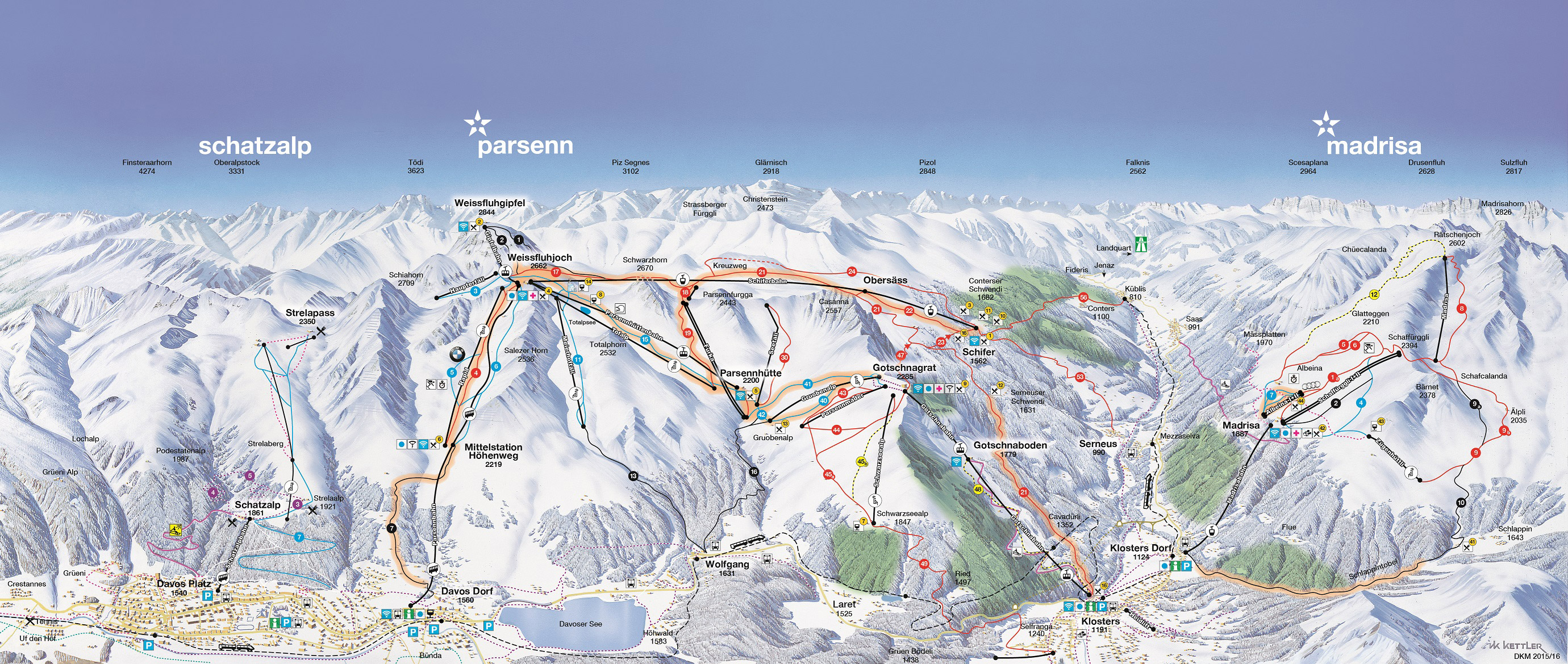 Davos Klosters Piste Map One