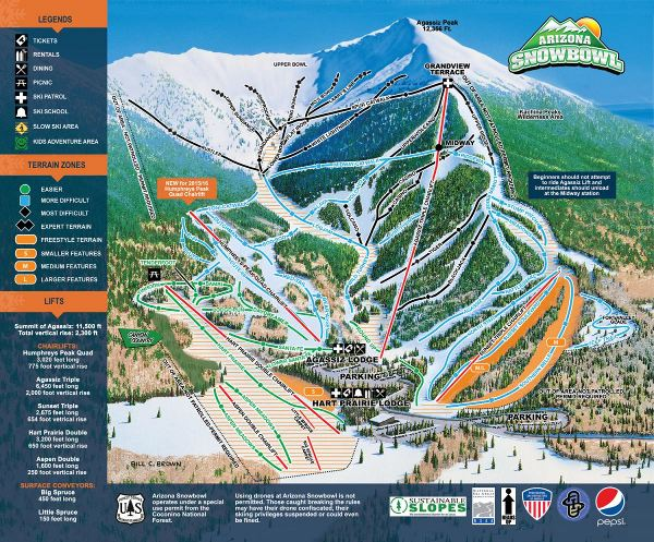 Arizona Snow Bowl Piste Map