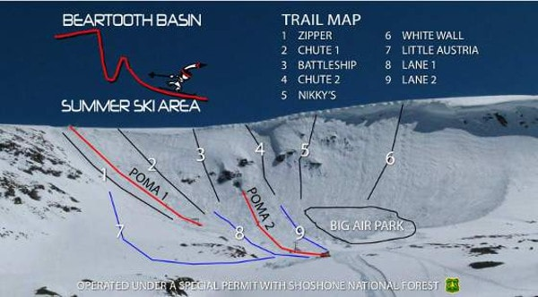 Beartooth Basin Ski Resort Piste Map