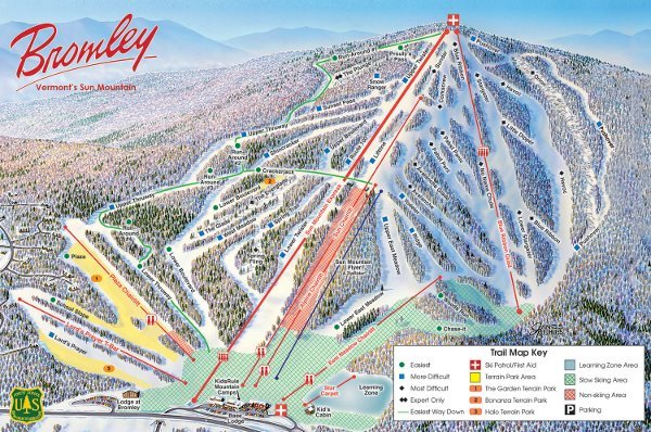 Bromley Ski Resort Piste Map