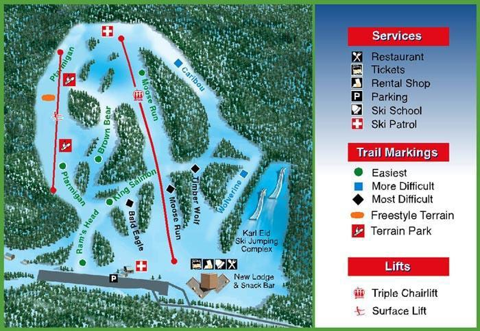 Hilltop Ski Resort Piste Map
