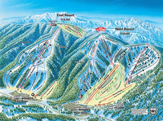 Mountain High Ski Resort Piste Map East and West