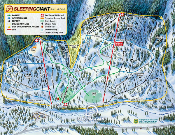 Sleeping Giant Ski Resort Piste Map
