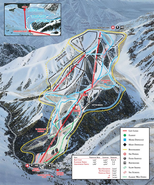 Sundance Ski Resort Piste Map