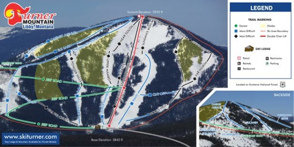 Turner Mountain Ski Resort Piste Map