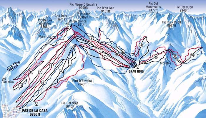 Grau Roig Ski Resort Piste Map