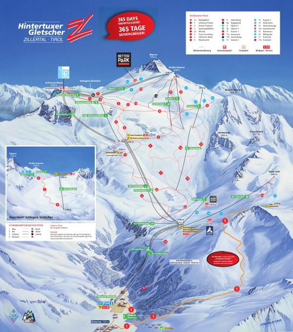 Hintertux Glacier Ski Resort Piste Map