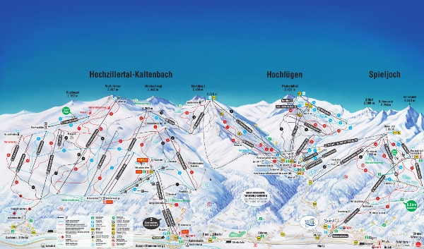 Hochfugen in the Zillertal Valley Ski Resort Piste Map