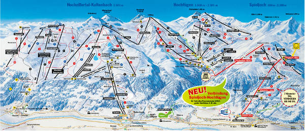 Hochzillertal in the Zillertal Valley Ski Resort Piste Map