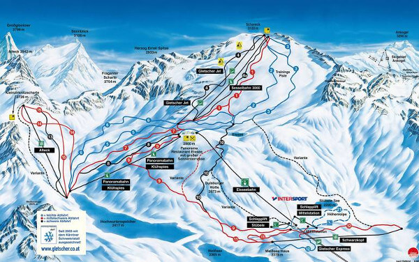 Molltaler Glacier Ski Resort Piste Map