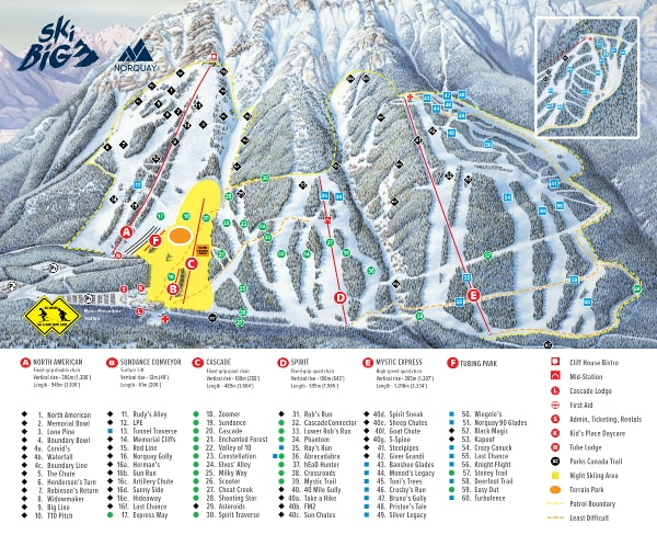 Mount Norquay Ski Resort Piste Map
