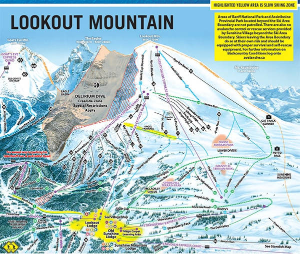 Sunshine Village Lookout Mountain Ski Resort Piste Map