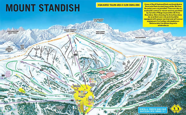 Sunshine Village, Mount Standish, Piste Map