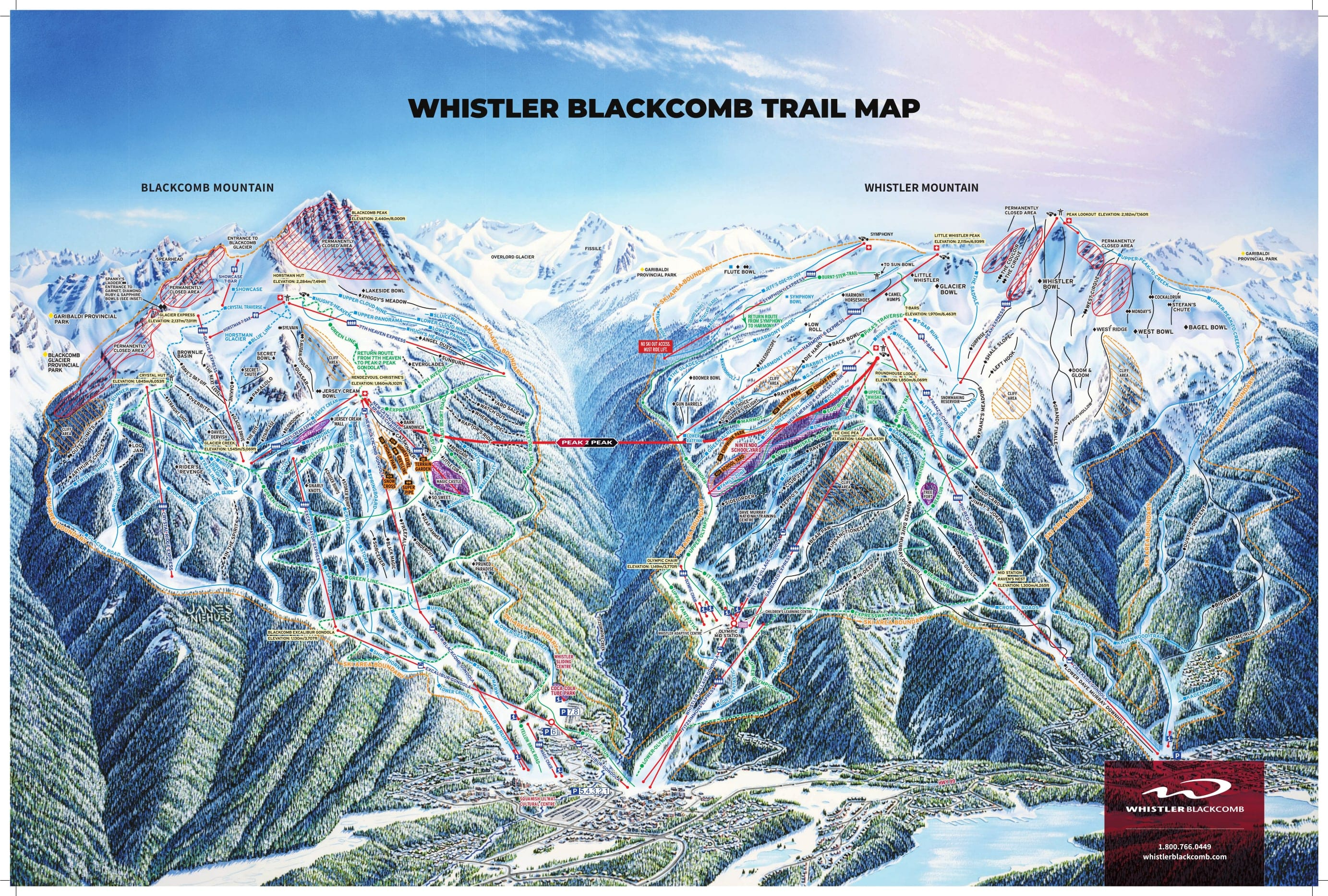 Whistler Canada Ski Map Whistler Blackcomb Ski Resort Piste Maps