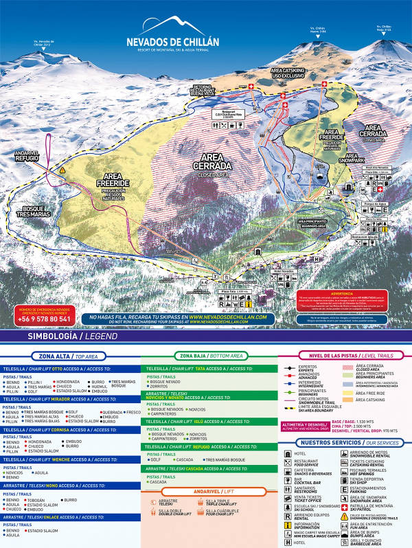Nevados de Chillan Ski Resort Piste Map
