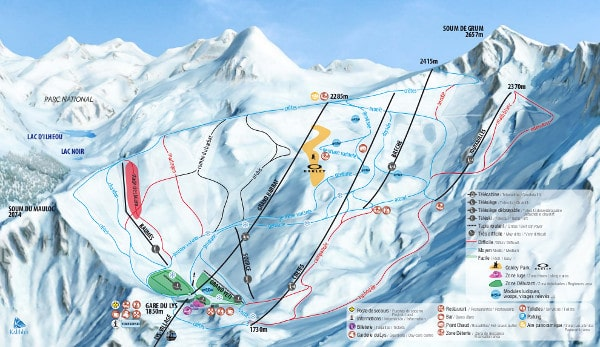 Cauterets Ski Resort Piste Map