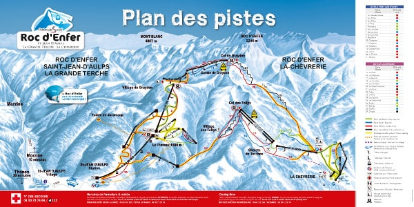 Espace Roc d'Enfer Ski Resort Piste Map