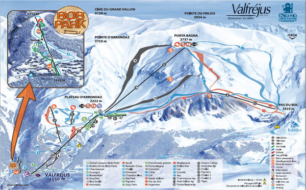 Valfrejus Ski Resort Piste Map