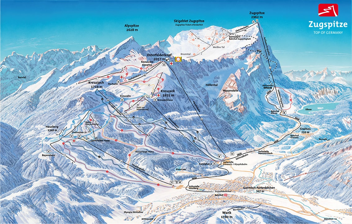 Garmisch-Partenkirchen Ski Resort Piste Map