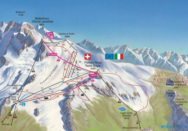 Cervinia Summer Skiing Piste Map