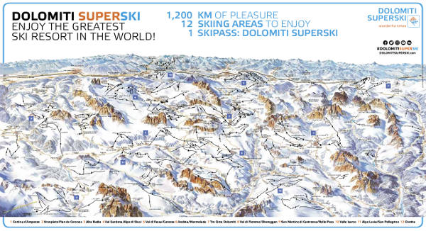Dolomiti Superski Ski Lift Map