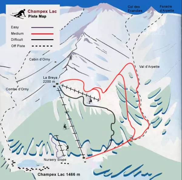 Champex Lac Ski Resort Piste Map