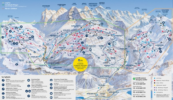 Jungfrau Ski Resort Piste Map