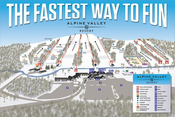 Alpine Valley Ski Resort Piste Map