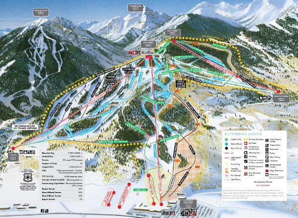 Aspen Buttermilk Ski Resort Piste Map