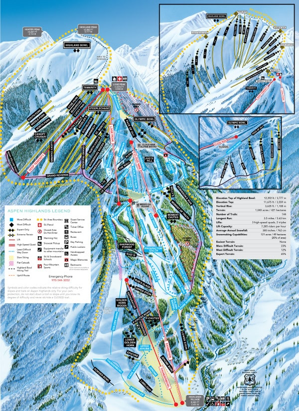 Aspen Highlands Ski Resort Piste Map