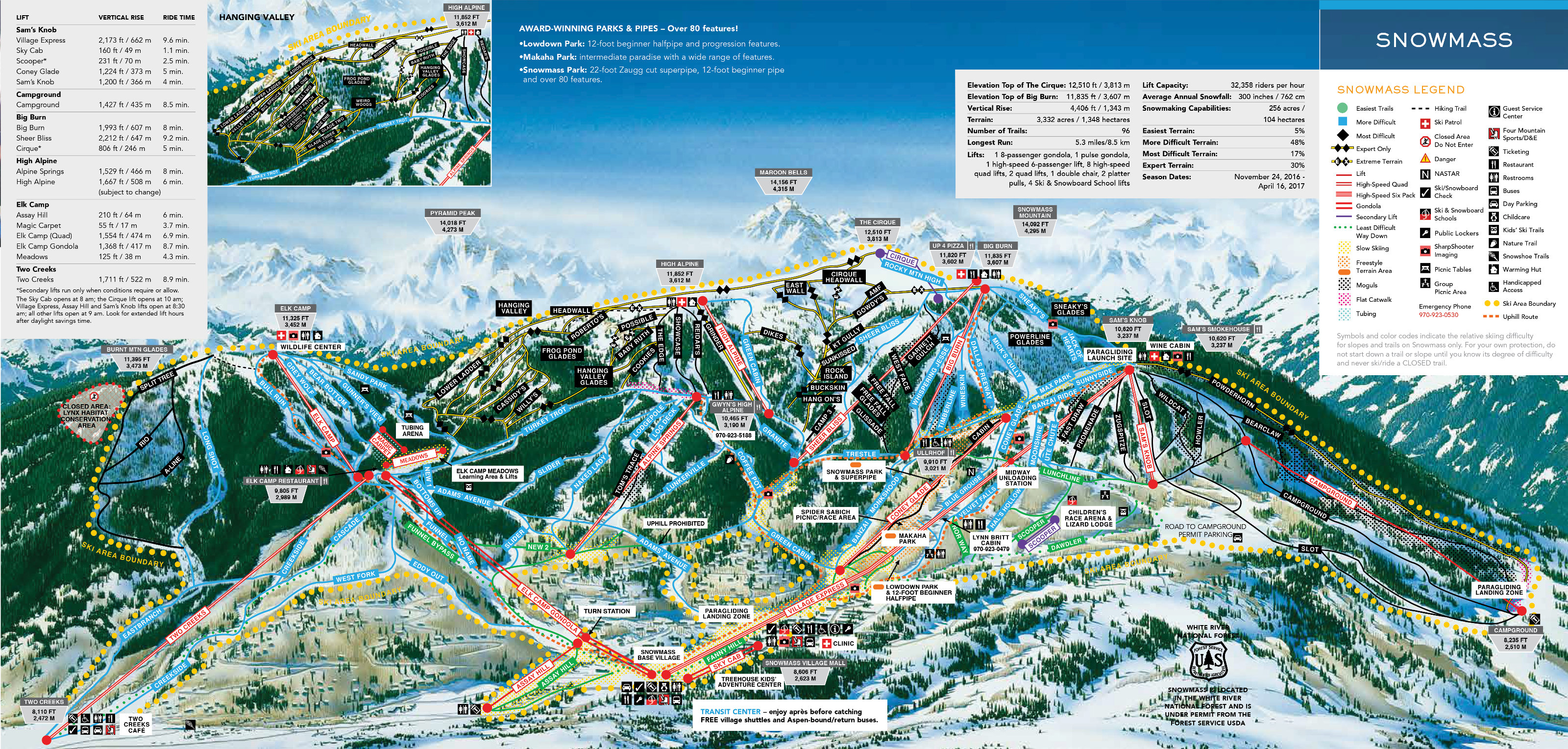 Snowmass Ski Resort Piste Map