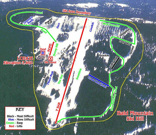 Bald Mountain Ski Resort Piste Map