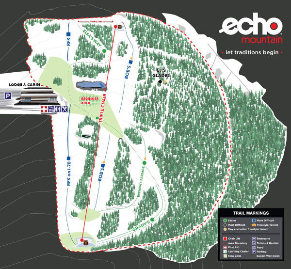Echo Mountain Ski Resort Piste Map