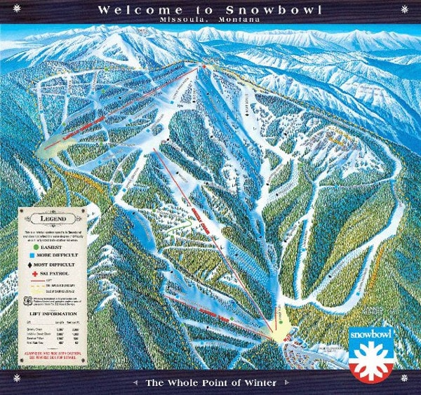 Montana Snowbowl Ski Resort Piste Map