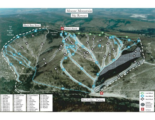 Moose Mountain Ski Resort Piste Map