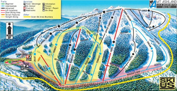 Mount Ashland Ski Resort Piste Map
