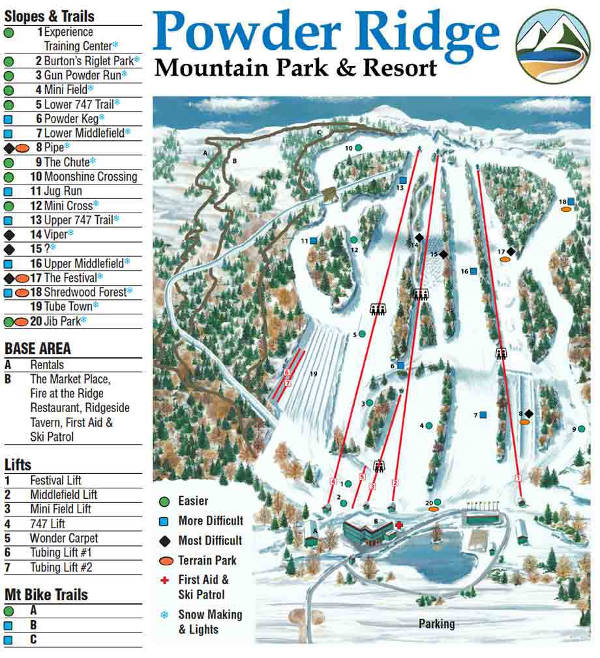 Powder Ridge Ski Resort Piste Map