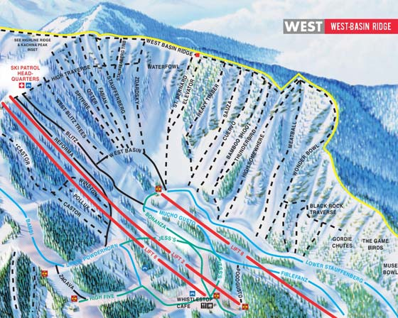 Taos Ski Valley West Basin Piste Map